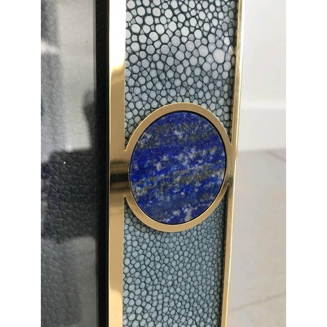 Fabio Ltd Blue Shagreen With Lapis Lazuli Photo Frame by Fabio Ltd For Sale - Image 4 of 7