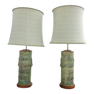 1950s Vintage James Mont Style Bronze Table Lamps - A Pair For Sale