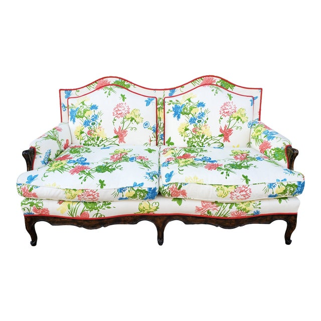 Vintage Louis XV Style Floral Upholstery Settee For Sale
