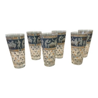 Cera Mid-Century Modern Greek Frieze Highball Glasses - Set of 6