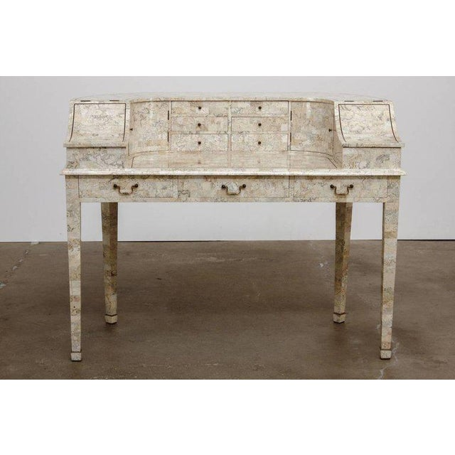 Gorgeous tessellated stone desk by Maitland-Smith made in the Carlton House or Georgian style. Features a large case...