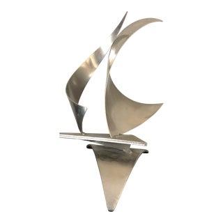 Mid Century Abstract Steel Sailboat Sculpture