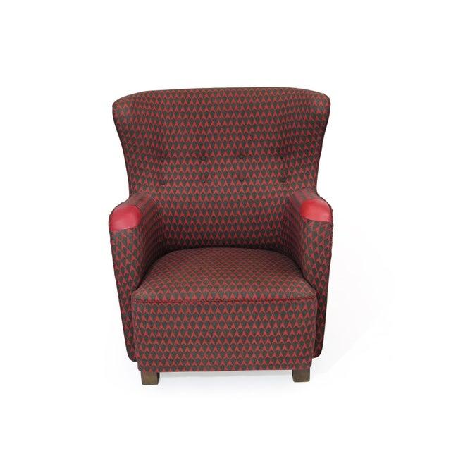 Metal 1937 A.J. Iversen for Kaj Gottlob Deco Lounge Chair Original Fabric For Sale - Image 7 of 9