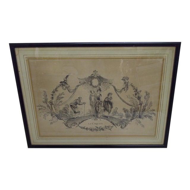 """""""La Coquette"""" by Apres Antoine Watteau Boucher - Image 1 of 7"""