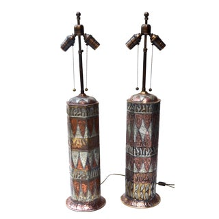 Elegant Vintage Moorish Artisan Table Lamp Pair, 1950s For Sale