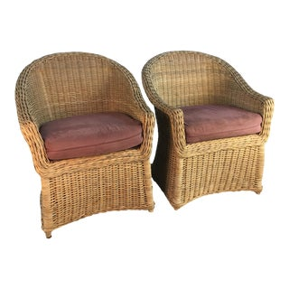 1970s Draped Wicker Chairs - a Pair For Sale