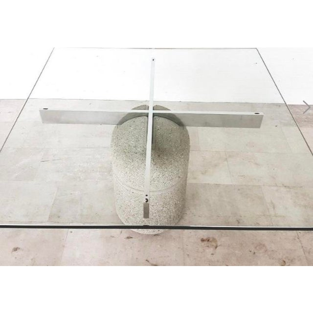 "Postmodern ""Paracarro"" dining table designed by Giovanni Offiredi for Saporiti. Italia. Pedestal base is concrete with..."
