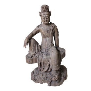 Antique Guanyin Hand-Carved Statue For Sale