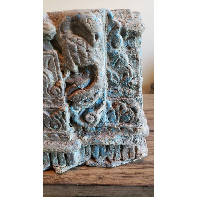 19th Century 19th Century Architectural Salvage Hand Carved Wood Moulding Block From India For Sale - Image 5 of 12