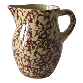 Yellow and Brown Spongeware Pitcher With a Handle For Sale