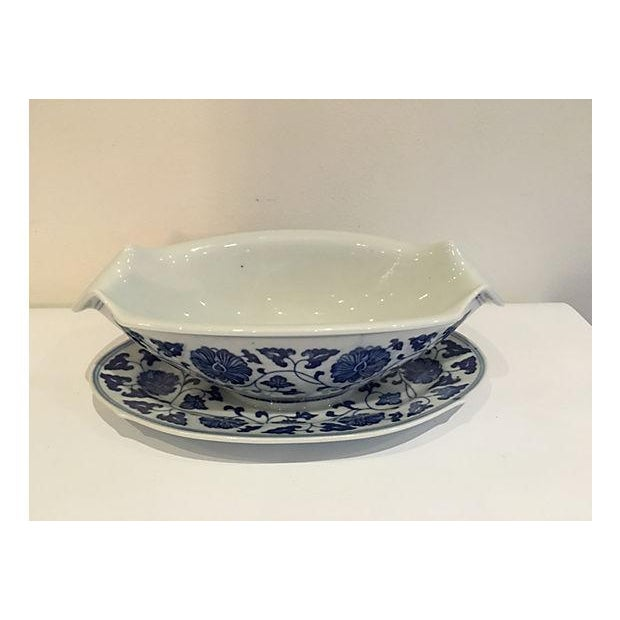 Blue & White Chinese Sauce Boat - Image 3 of 5