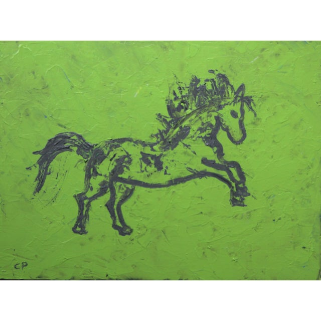 An abstract horse painting in dark gray on a mottled lime green background. Painted with a coarse brush and a palette...
