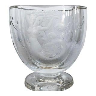 Swedish Mid-Century Crystal Mermaid Vase For Sale