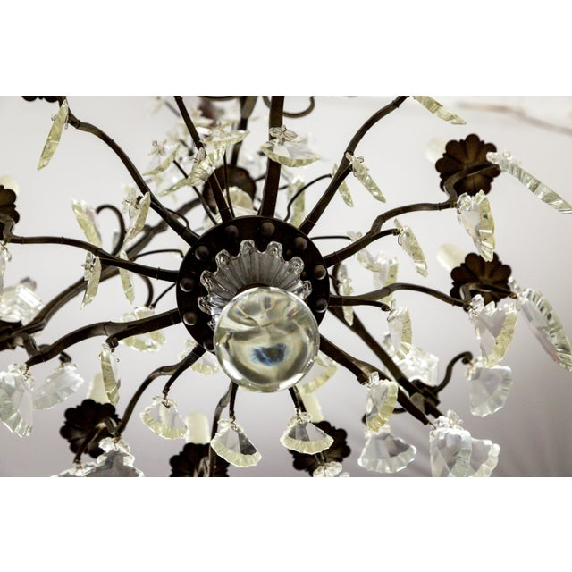 Black Parisian Second Empire Style Darkened Brass Chandeliers - a Pair For Sale - Image 8 of 13