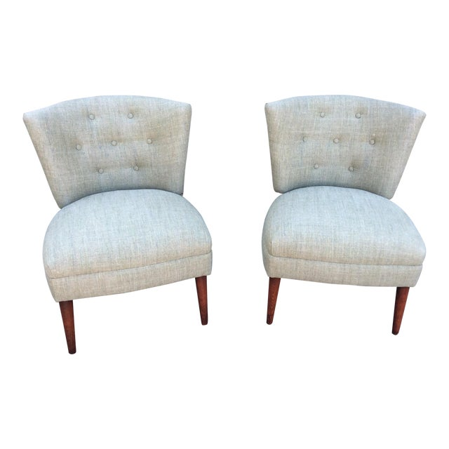 Mid-Century Slipper Chairs- A Pair For Sale