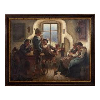 M. Wachsmuth 1890s Oil Painting German Bavarian Tavern Scene Lederhosen & Dirndl For Sale