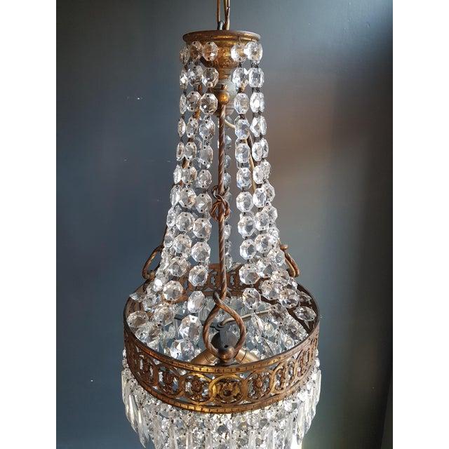 Brass Basket Chandelier Brass Empire Crystal Lustre Ceiling Lamp Antique Art Nouveau For Sale - Image 7 of 12
