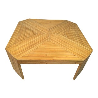 Vintage Boho Chic Rattan Coffee Table For Sale