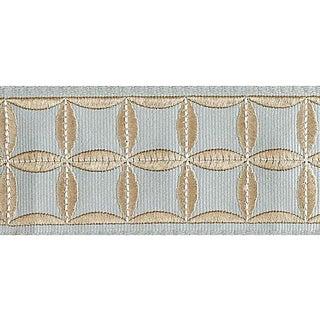 Sample, Scalamandre Fiori Embroidered Tape, Aquamarine For Sale