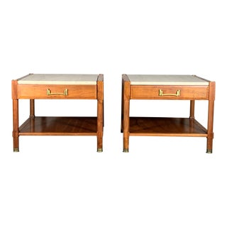 1950s ofHeritage Henredon Nightstands With Travertine Tops - a Pair For Sale