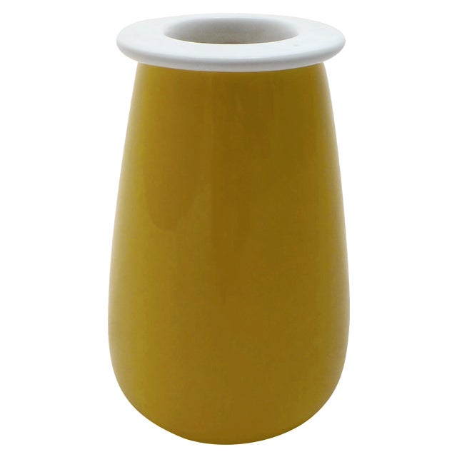 Sunshine Yellow Italian Pottery Vase For Sale