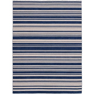 Elana Striped Navy Flat-Weave Rug 8'x10' For Sale