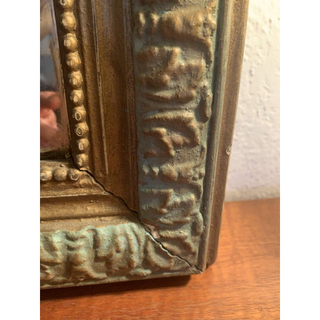 1880 Antique French Charles X Style Green and Gold Painted Wall Mirror For Sale - Image 11 of 12