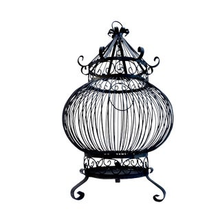 Antique Wrought Iron Birdcage || Large Scale Victorian Gothic Round Pagoda Scrolled Freestanding or Hanging Bird Cage Halloween Decor For Sale