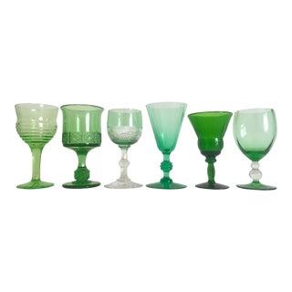 Vintage Mid-Century Petit Green Wine Cordial Glasses- Set of 6