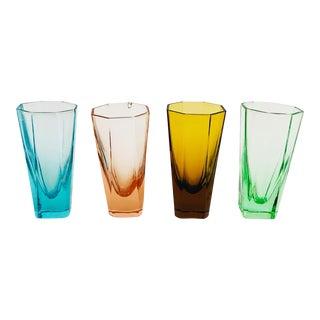 Vintage Octagonal Rainbow Shot Glasses - Set of 4 For Sale