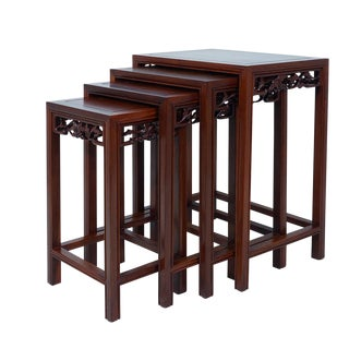 Chinese Antique Carved Rosewood Nesting Tables - Set of 4