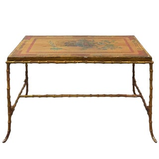 Maison Baguès Bronze Faux Bamboo Coffee Table With Antique Chinese Panel Top For Sale