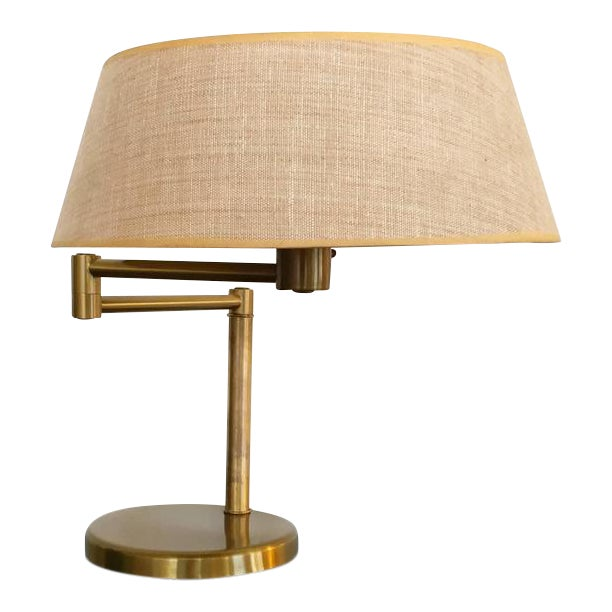 Exquisite Brass Swing Arm Desk Or Table Lamp By Walter Von