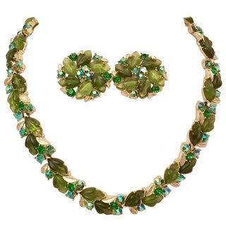 1950's Lisner Lucite Carved Leaf & Crystal Rhinestone Choker Necklace & Earrings For Sale