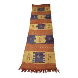Moroccan Cactus Silk Flat Weave Kilim Runner Rug - 2′2″ × 7′10″ For Sale
