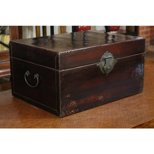 Asian 1920s Chinese Black Leather Trunk For Sale - Image 3 of 7
