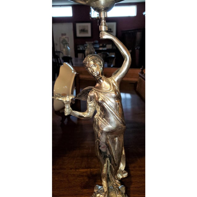 Mid 20th Century Chromed Angel Centerpieces - a Pair For Sale - Image 5 of 13