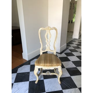 Vintage French White-Washed Carved Dining Chairs - Set of 6 Preview