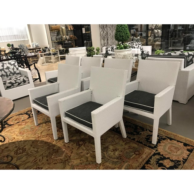 Arm Frontgate Wicker Dining Chairs - Set of 6 For Sale - Image 9 of 9