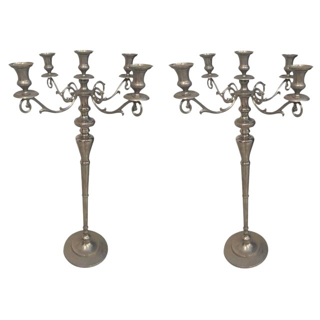Metal Standing Candlestick Holders or Candelabra - A Pair For Sale
