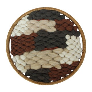 Round Boho Textile in Wool and Jute II For Sale