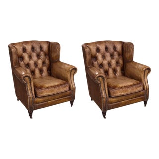 Two English Library Chairs With Distressed Leather For Sale