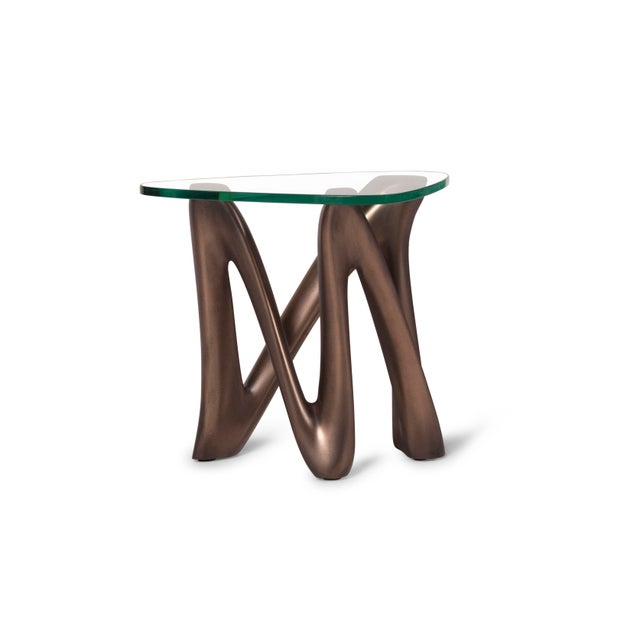 Metal Amorph Ronia Dark Bronze Side Table With Glass Top For Sale - Image 7 of 9