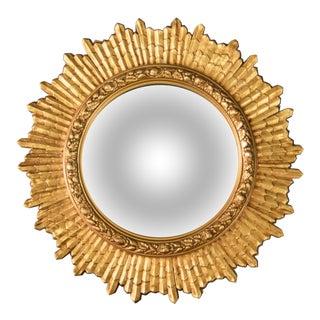 Vintage French Giltwood Sunburst Convex Mirror For Sale