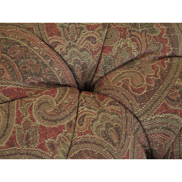 Neoclassical Revival Century Round Tufted Upholstered Large Ottoman For Sale - Image 3 of 8