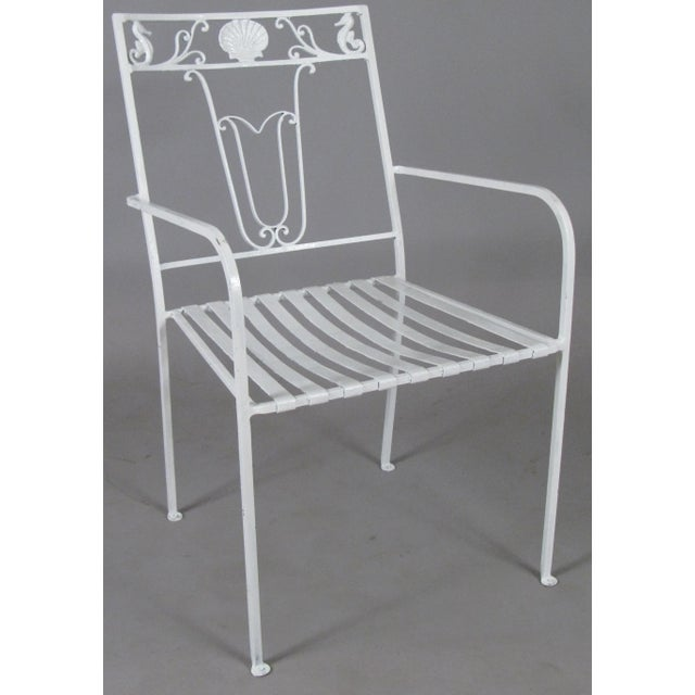 American Classical 1950s Seashell & Seahorse White Patio Chairs - Set of 6 For Sale - Image 3 of 8