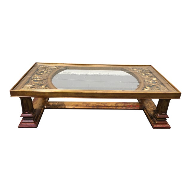 Weiman Gilt Wood Chinoiserie Carved Coffee Table For Sale