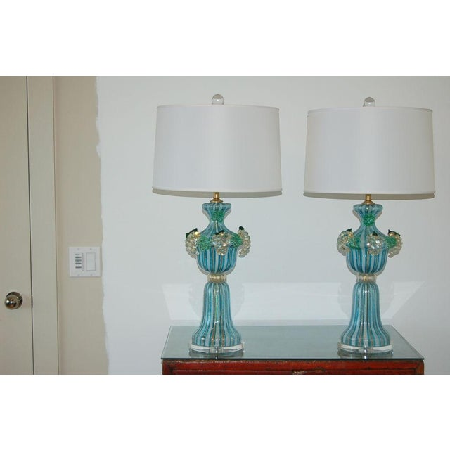 Blown Glass Dino Martens Vintage Murano Glass Table Lamps Turquoise For Sale - Image 7 of 10