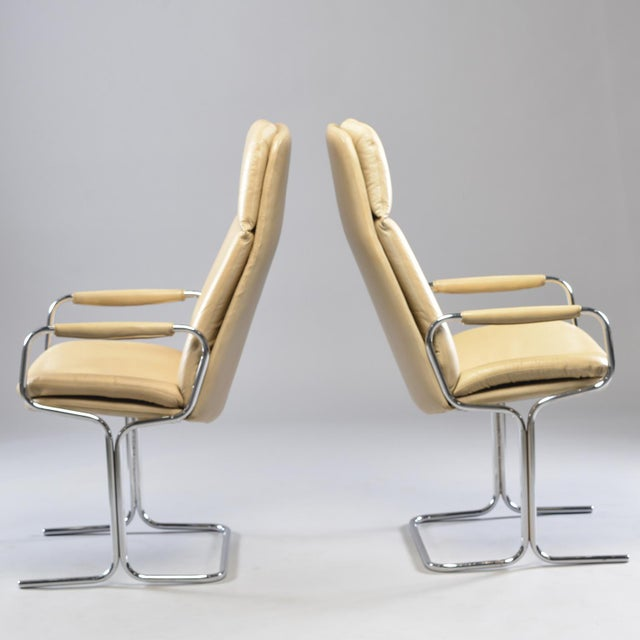 Tim Bates for Eleganza Collection at Pieff Chrome and Leather Armchairs - a Pair For Sale - Image 4 of 13
