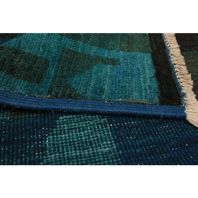 Contemporary Green and Teal Rug - 7′ × 9′ For Sale - Image 4 of 6